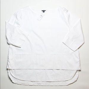 Ann Taylor 3/4 length sleeve shirt tail blouse